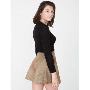 NWT American Apparel Suede Leather Circle Skirt  Medium Beige Lambskin New